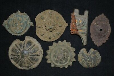 Group of 7 Ancient Merovingian / Frankish Bronze Detector finds, c 520-550 Ad.