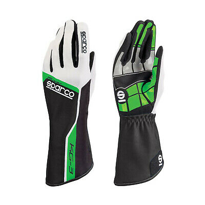 Sparco Track KG-3 Kart Gloves Black/Green - Genuine - 9