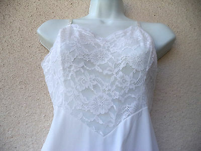 """Vintage 1950s FULL SLIP Ultra Femme LACY Silky Nylon PETTICOAT 10"""" Lace at Bust"""