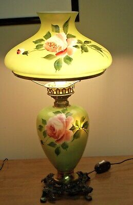 Antique Victorian GWTW Electric Parlor Table Lamp. Works. Green Pink Rose FC Co