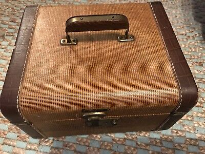 Vintage Leather Train Cosmetic Travel Case Reduced