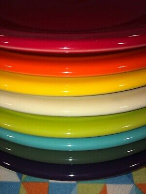"New Bright Rainbow Set 8 Fiestaware 10.5"" Mixed Color Dinner Plates Fiesta"
