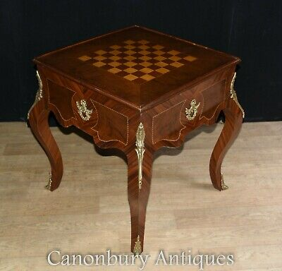 Victorian Games Chess Table - Mahogany Side Tables Backgammon