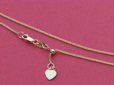 """1.00mm Solid Adjustable Wheat Spiga Chain Necklace Real 10K White Gold 2.4gr 22/"""""""