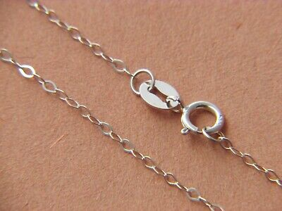 Solid 14Kt WHITE Gold 1.3mm Flat Cable Chain Necklace  real gold 14k