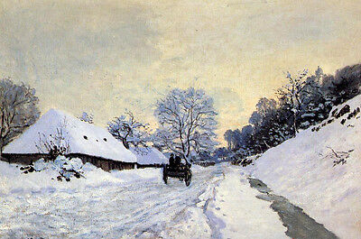 Hand painted Oil - A Cart on the Snow Covered Road with Saint-Simeon Farm