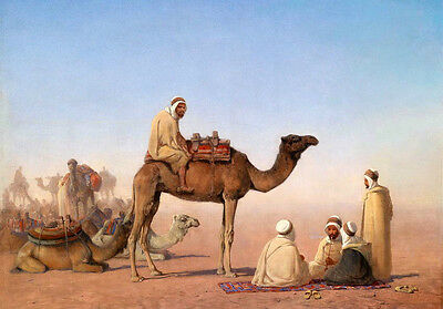 Excellent oil painting male portraits Arab Camels caravan in desert Hand painted