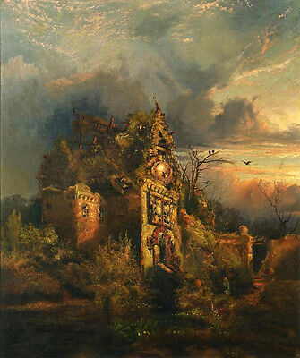 Art landscape Oil painting Thomas Moran - Haunted House at sunset - on canvas