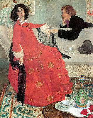 """Oil painting Armfield Maxwell Faustine woman wearing red dress Hand painted 36"""""""