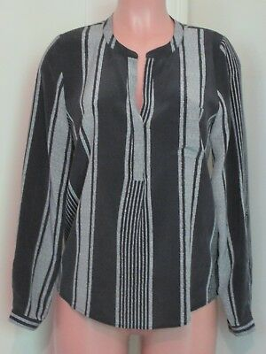 Joie Silk Black & White Striped Adjustable Sleeve Tunic Top, Size S