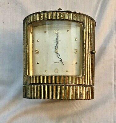 Vintage MATHEY TISSOT ART DECO BRASS DESK/TABLE CLOCK w/ 8-Day Luxor Movement