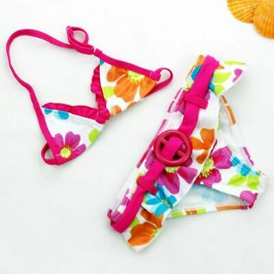 Girls Swimwear Swimsuit Flower Cute Kids Bikini Beachwear Bathing Suit 2 Pieces