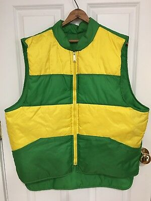 Vintage 70s 80s Green Yellow Puffer Nylon Zip front Vest Size XL