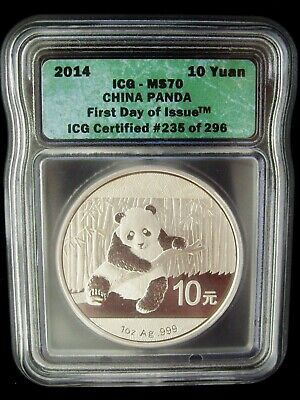 2014 China Panda 10 Yuan ICG MS70 First Day Of Issue 1 Oz Silver Coin READ SALE!