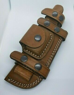 "Horizontal Scout Style Knife Sheath Pouch Genuine Leather Fits 5"" to 6"" blade"