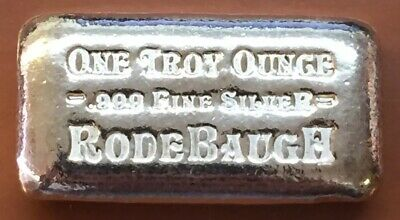 Rodebaugh Silver One Troy Ounce .999 Silver Bar Hand Poured Rare Low Mintage