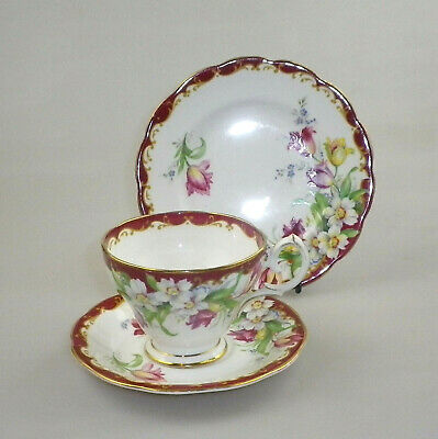 Vintage Bell China Trio Narcissus(Maroon)
