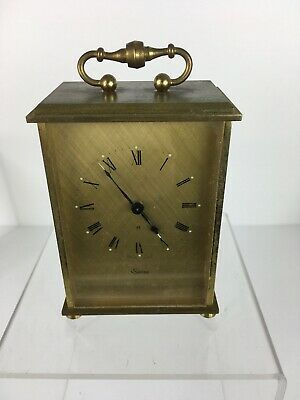 Vintage Swiza Swiss Made 8 Day Carriage Mantle Alarm Brass Tone Clock Parts/repr
