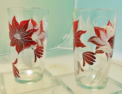 Set of 2 Swanky Swigs Style Floral Glass Tumblers Red Poinsettias