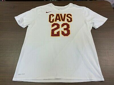 new products 0a7a1 af580 LEBRON JAMES CLEVELAND Cavaliers Nike Dri-Fit Men's White T-Shirt - XL