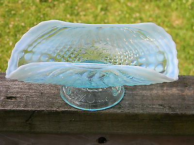 Northwood Blue Opalescent Nautilus Argonaut Shell Whimsy Card Receiver c1900