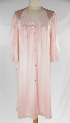 VTG Vanity Fair Women's Pink Nylon Robe Housecoat Lace Button Front Pocket S