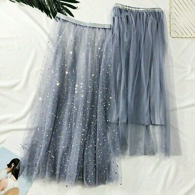 e94c508d25 Lady Sequins Mesh Skirt Midi Net Swing A Line Casual Tulle Fairy 2Pcs Fairy  Chic