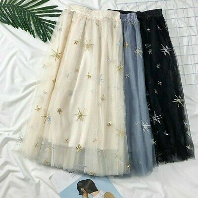 485d602e69 Lady Embroidery Mesh Sequin Skirt Midi Star Swing Fairy A-Line Casual Tulle  Cute