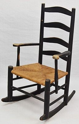 Black Painted Ladder Back Rocker Rocking Chair with Rush Seat