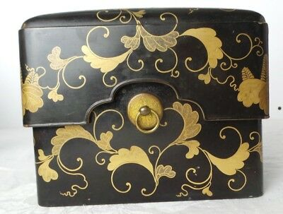 Antique Vintage Chinese Asian Black Lacquer Box