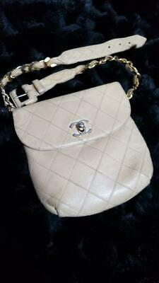 9f463434cf6 CHANEL CC Chain Belt Bum Bag Waist Pouch Fanny Pack Beige Leather Used