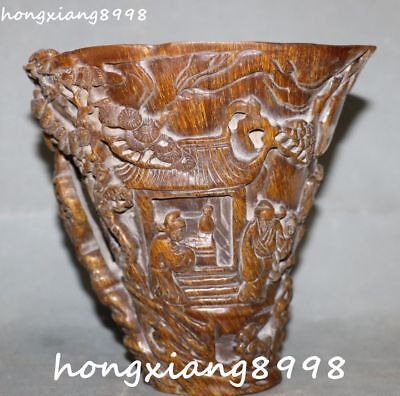 Marked China Ox Horn Oxhorn Poet Tree Wineglass Cup Tumbler Mug Bowl Pot Cups