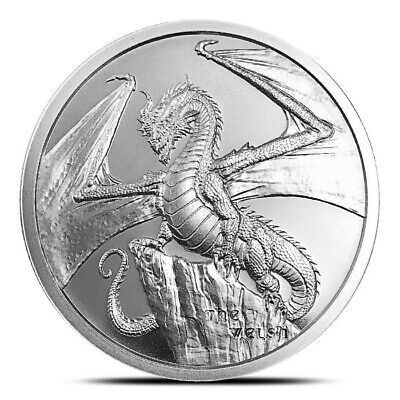 WORLD of DRAGONS (THE WELSH) Silver Art-Round: 1 Troy Oz .999 Fine Solid Silver