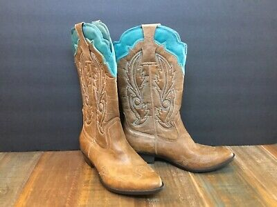 3020351311b COCONUTS BY MATISSE Womens Cimmaron Tan Turquoise Faux Leather Cowboy Boots  6.5m