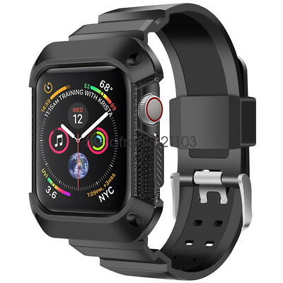 Rugged Protective Case with Watch Strap Bands For Apple Watch Series 5 4 40/44mm