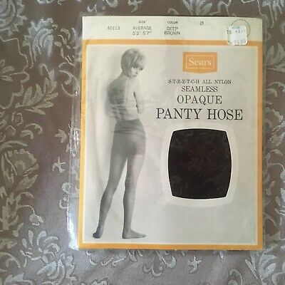 Vintage sears opaque nude nylon pantyhose w/ model size ave brown