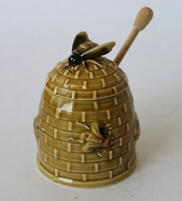 Vintage Retro 60s CERAMIC HONEY POT/JAR Pottery BEEHIVE & BEES w/ Dipper EXC