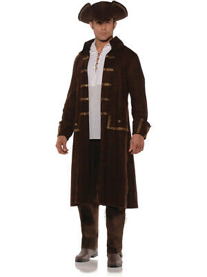 1d067a908 MEN'S BROWN PIRATE Captain Coat And Hat Set Costume Large 42-46