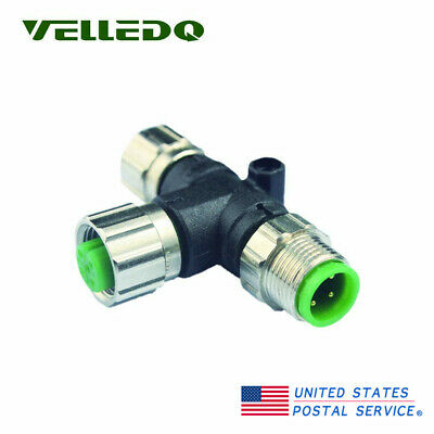 T Type M12 Sensor Splitter Connector 4Pin Male/3Pin Female Threaded Connector