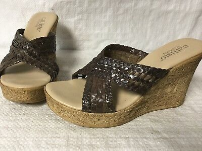 046e10cd3 Callisto of California Wedge Sandals Brown Leather Women s Cork Sz 40 Sz 10  EUC