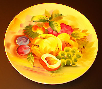 "J. Nagasaki Hand-Painted Plate 8 3/4""  Plums. Grapes, Cherries ... Fruits"