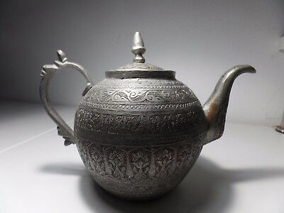 Antique Hand Chiseled Copper Persian Arab Tea Pot