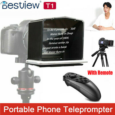 Portable Smart Phone Teleprompter w/Lens Adapter Rings Kit for Interview TV Show