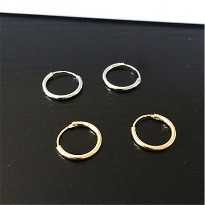 Hot Silver Gold Plated Small Endless Hoop Ear Earrings Circle Round Jewelry 12mm