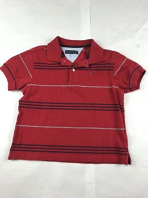 Boys Youth Tommy Hilfiger Red Stripe Short Sleeve Polo Golf Shirt Size 3T