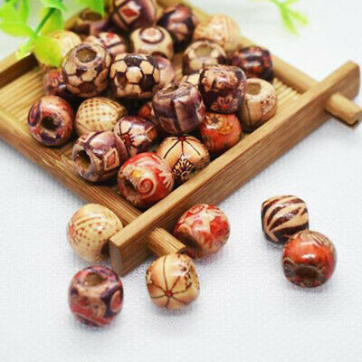 Lot Of 100pk Mixed Large Hole Wooden-Beads Jewelry Charms Crafts Making DIY