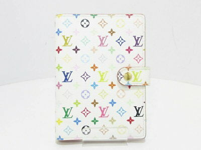 LOUIS VUITTON Agenda PM Day Planner Notebook Cover Multi-Color White R21074 Used