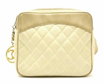 bb16fe42f Chanel CC Matorasse Waist Pouch Bumbag Belt Bag Fanny Pack Beige Leather  Used