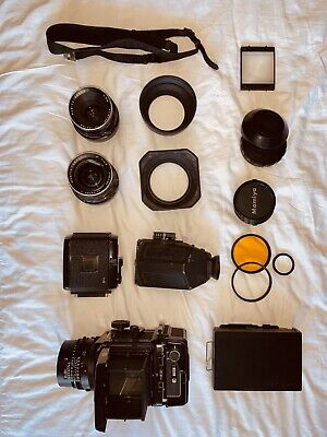 Mamiya RB67 ProS with 127mm, 90mm, 50mm and more accessories