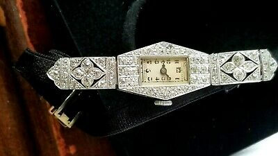 Early Swiss Art Nouveau/ Deco Platinum, Diamond, Lady's 15j Wristwatch.Ca.1914.